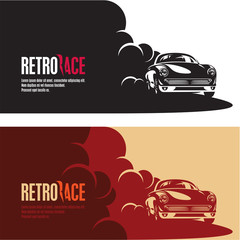 retro car race banner, retro style sports car vector silhouette, car racing in a puff of smoke