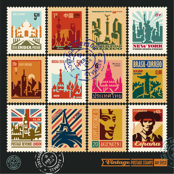 postage stamps, cities of the world, vintage travel labels and badges set, art deco style vector posters collection, seal and postmark design templates