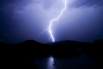 Lightning over the lake.