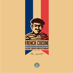 French food, French cuisine restaurant logo, French man icon, bon appetit