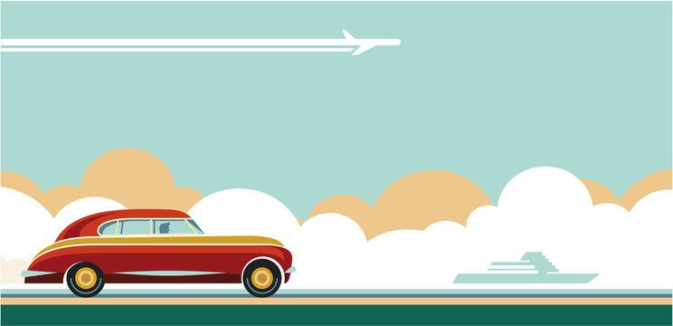 travel transportation, travel tips, travel adventures flat style retro banner