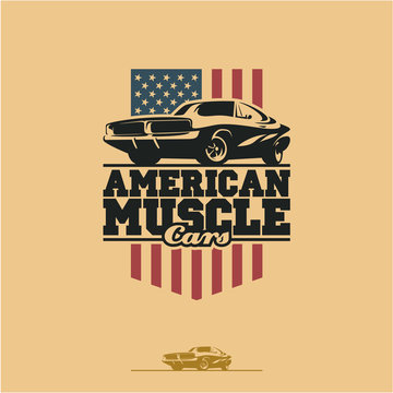 American muscle cars label, vector muscle car icon