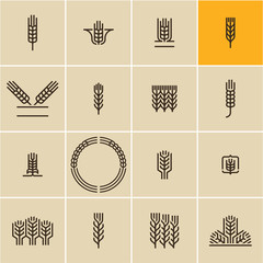 Wheat ear icon set, wheat ears, cereals,