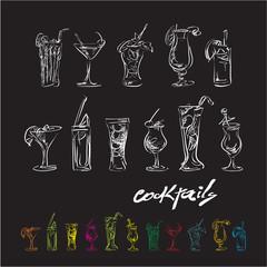cocktails, sketch hand drawn cocktails set