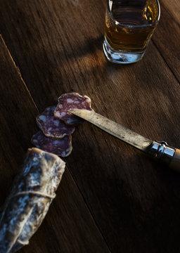 Wild Boar Sausage with Pocket Knife