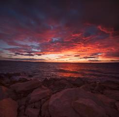 Spectacular sunrise at the seaside