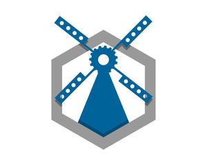 blue windmill hexagon barn farmhouse dutch image vector icon silhouette