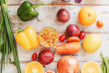 Top view autumn colorful vegetable agriculture and healthy diet food concept for vegetarian.