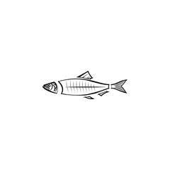 skeleton of herring icon. Fish and sea products elements. Premium quality graphic design icon. Simple love icon for websites, web design, mobile app, info graphics