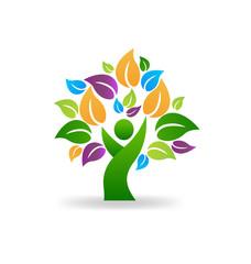 Tree human symbol, healthy lifestyle icon