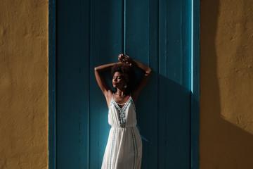 Beautiful African Model Wearing White Dress