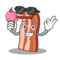 With ice cream bacon character cartoon style