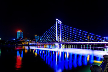 Ningbo city architecture landscape night view