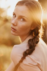 Headshot of Haunting Young Woman at Sunset