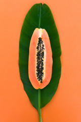 The papaya on the leaf