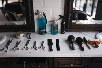 Hair styling equipment at the barbershop