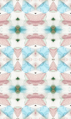 Pink, pale blue and tiny hearts inside kaleidoscope