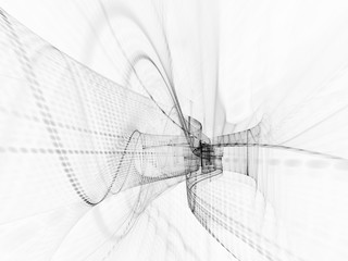 Abstract white background texture. Dynamic 3d composition of curves ands grids. Detailed fractal graphics. Science and digital technology visualization.