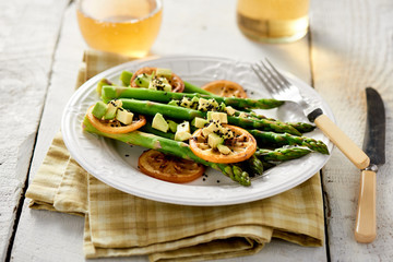 Cooked Asparagus with Grilled Lemon and Avocado Relish