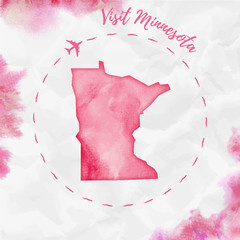 Minnesota watercolor us state map in red colors. Visit Minnesota poster with airplane trace and handpainted watercolor Minnesota map on crumpled paper. Vector illustration.