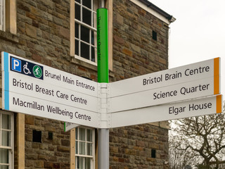 Bristol Southmead Hospital Direction Sign The Limes Quarter, Brunel Main Entrance, Bristol Breast Care Centre, MacMillan Wellbeing Centre,  Bristol Brain Centre, Science Quarter, Elgar House