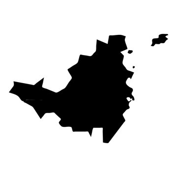 Saint Martin map. Island silhouette icon. Isolated Saint Martin black map outline. Vector illustration.