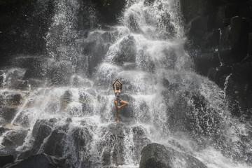 Tree pose at the Yoga Waterfalls