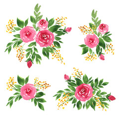 Watercolor floral compositions set. Loose hand painted roses