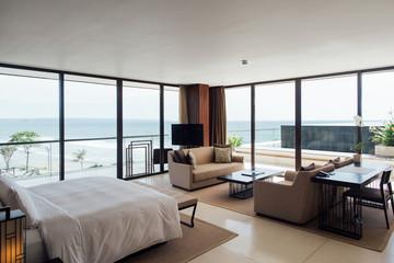 Minimalist Master Bedroom in High-End Beach Resort