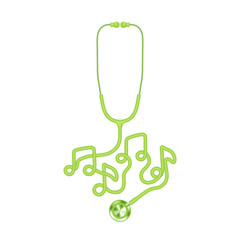 Stethoscope green color and music note sign symbol made from cable isolated on white background, with copy space