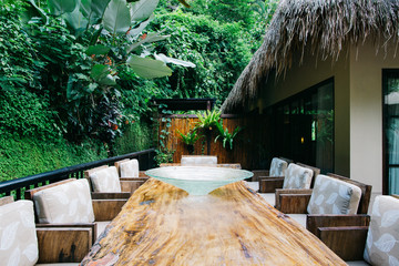 Outdoor Wooden Table in Tropical Resort