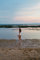 Beautiful woman portrait by the sea