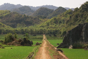 Dusty road in the hills of Vietnam, surrounded by paddies and hills.
