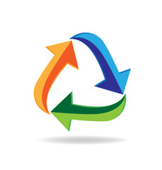 Logo recycle arrows business card symbol of reduce reuse recycle Concept