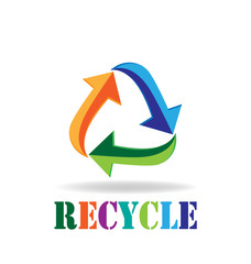Logo recycling arrows business card symbol of reduce reuse recycle Concept