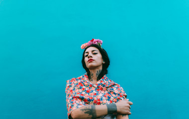mexican beautiful woman portrait in a colorful evironment