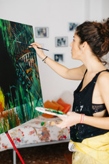 Modern artist drawing in studio