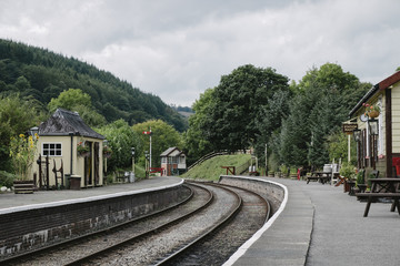 Station buildings and signal box on a heritage railway line. Wal