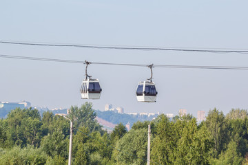 Two cabins of the cable car in Nizhny Novgorod