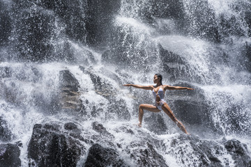 Warrior pose at the Yoga Waterfalls