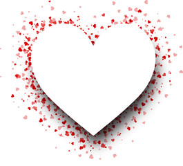 Fototapete - Heart shape background with red hearts.