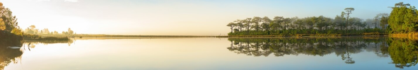 Panoramic view of sunrise over the lake in nation park, Beautiful rainforest landscape with fog in morning, Thailand.