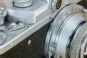 mechanical dials of retro camera in vintage style. macro view.