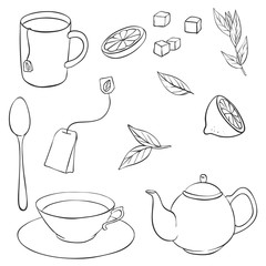 vector tea set