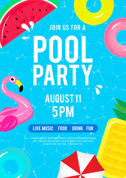 Pool party invitation vector illustration. Top view of swimming pool with pool floats.