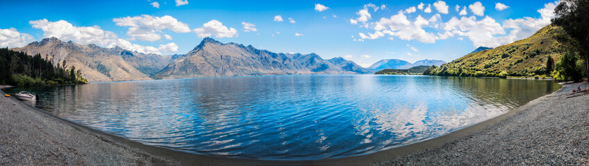 Tranquil Panoramic View of Lake Wakatipu at Wilson Bay, Otago Region, New Zealand, Southern Island.