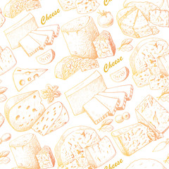 Seamless pattern with cheese products