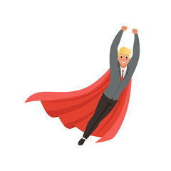 Cheerful business man with classic superhero mantle in flying action with hands up. Cartoon young guy in stylish suit, shirt and tie. Office worker. Flat vector design