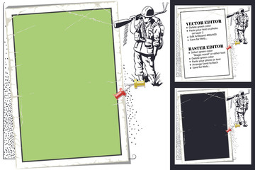 Frame for scrapbook, banner, sticker, social network. Military theme.