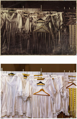 Priest's clothes in the changing room in the church